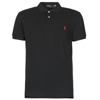 tekstylia Męskie Koszulki polo z krótkim rękawem Polo Ralph Lauren POLO AJUSTE DROIT EN COTON BASIC MESH LOGO PONY PLAYER Czarny