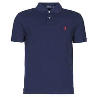 tekstylia Męskie Koszulki polo z krótkim rękawem Polo Ralph Lauren POLO AJUSTE DROIT EN COTON BASIC MESH LOGO PONY PLAYER Marine