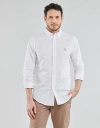 tekstylia Męskie Koszule z długim rękawem Polo Ralph Lauren CHEMISE AJUSTEE EN OXFORD COL BOUTONNE  LOGO PONY PLAYER MULTICO Biały