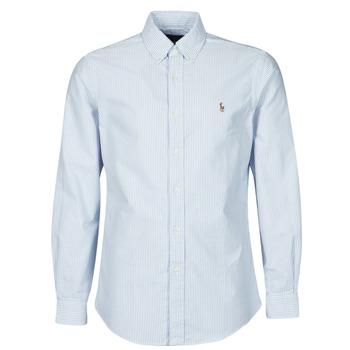tekstylia Męskie Koszule z długim rękawem Polo Ralph Lauren CHEMISE AJUSTEE EN OXFORD COL BOUTONNE  LOGO PONY PLAYER MULTICO Niebieski / Biały