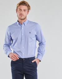 tekstylia Męskie Koszule z długim rękawem Polo Ralph Lauren CHEMISE AJUSTEE EN POPLINE DE COTON COL BOUTONNE  LOGO PONY PLAY Niebieski / Biały / Stripes