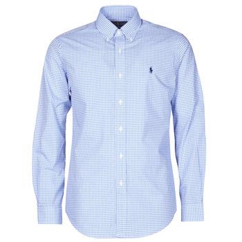 tekstylia Męskie Koszule z długim rękawem Polo Ralph Lauren CHEMISE AJUSTEE EN POPLINE DE COTON COL BOUTONNE  LOGO PONY PLAY Niebieski / Biały