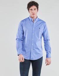 tekstylia Męskie Koszule z długim rękawem Polo Ralph Lauren CHEMISE AJUSTEE EN POPLINE DE COTON COL BOUTONNE  LOGO PONY PLAY Niebieski