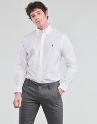 tekstylia Męskie Koszule z długim rękawem Polo Ralph Lauren CHEMISE AJUSTEE EN POPLINE DE COTON COL BOUTONNE  LOGO PONY PLAY Biały