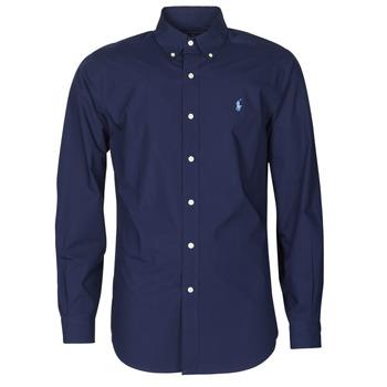 tekstylia Męskie Koszule z długim rękawem Polo Ralph Lauren CHEMISE AJUSTEE EN POPLINE DE COTON COL BOUTONNE  LOGO PONY PLAY Marine