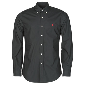 tekstylia Męskie Koszule z długim rękawem Polo Ralph Lauren CHEMISE AJUSTEE EN POPLINE DE COTON COL BOUTONNE  LOGO PONY PLAY Czarny