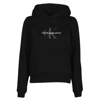 tekstylia Damskie Bluzy Calvin Klein Jeans REFLECTIVE MONOGRAM HOODIE Czarny