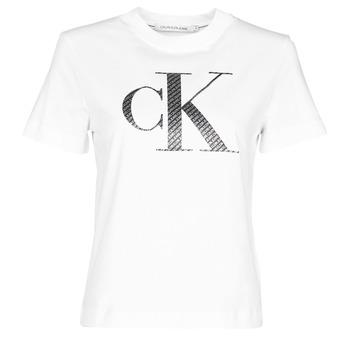 tekstylia Damskie T-shirty z krótkim rękawem Calvin Klein Jeans SATIN BONDED FILLED CK TEE Biały