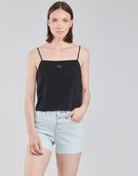 tekstylia Damskie Topy / Bluzki Calvin Klein Jeans MONOGRAM CAMI TOP Czarny