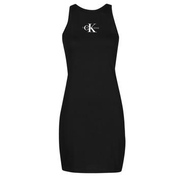 tekstylia Damskie Sukienki krótkie Calvin Klein Jeans MONOGRAM TANK DRESS Czarny