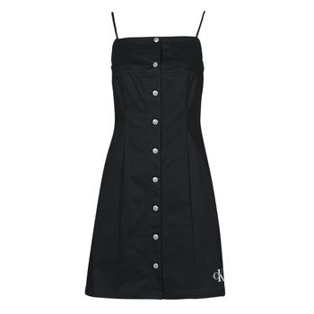 tekstylia Damskie Sukienki krótkie Calvin Klein Jeans COTTON TWILL BUTTON DRESS Czarny