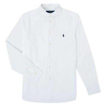 tekstylia Chłopiec Koszule z długim rękawem Polo Ralph Lauren TOUNIA Biały