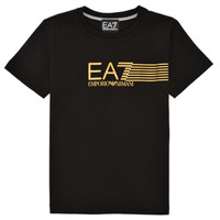 tekstylia Chłopiec T-shirty z krótkim rękawem Emporio Armani EA7 3KBT54-BJ02Z-1200 Czarny / Złoty