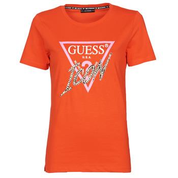 tekstylia Damskie T-shirty z krótkim rękawem Guess SS CN ICON TEE Czerwony