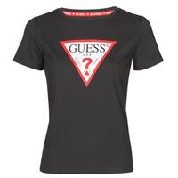 tekstylia Damskie T-shirty z krótkim rękawem Guess SS CN ORIGINAL TEE Czarny