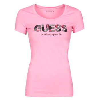 tekstylia Damskie T-shirty z krótkim rękawem Guess SS RN MARTINA TEE Różowy