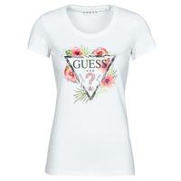 tekstylia Damskie T-shirty z krótkim rękawem Guess SS CN REBECCA TEE Biały / Wielokolorowy
