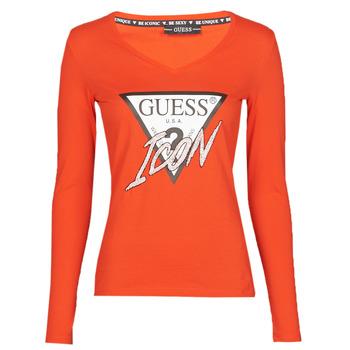tekstylia Damskie T-shirty z długim rękawem Guess LS VN ICON TEE Czerwony