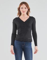 tekstylia Damskie T-shirty z długim rękawem Guess LS URSULA TOP Czarny