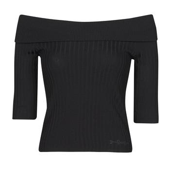 tekstylia Damskie T-shirty z długim rękawem Guess DAYNA OFF SHOULDER SWTR Czarny
