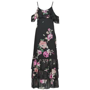 tekstylia Damskie Sukienki długie Guess AGATHE DRESS Czarny / Wielokolorowy