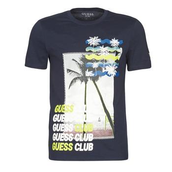tekstylia Męskie T-shirty z krótkim rękawem Guess GUESS CLUB CN SS TEE Marine