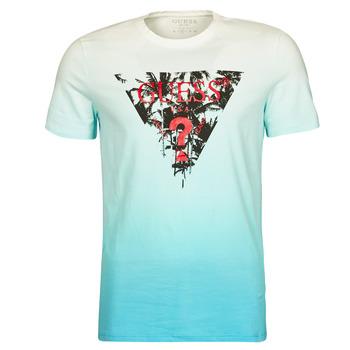 tekstylia Męskie T-shirty z krótkim rękawem Guess PALM BEACH CN SS TEE Niebieski