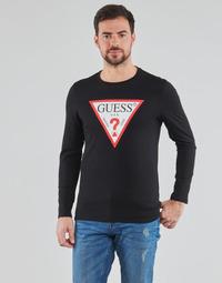 tekstylia Męskie T-shirty z długim rękawem Guess CN LS ORIGINAL LOGO TEE Czarny