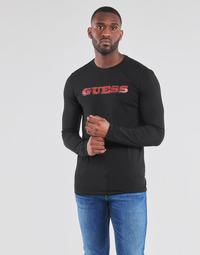 tekstylia Męskie T-shirty z długim rękawem Guess GUESS PROMO CN LS TEE Czarny
