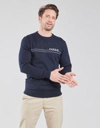 tekstylia Męskie Swetry Guess LS CN LOGO 12 GG Marine