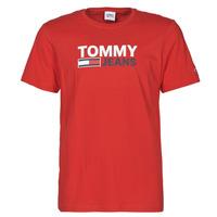 tekstylia Męskie T-shirty z krótkim rękawem Tommy Jeans TJM CORP LOGO TEE Czerwony