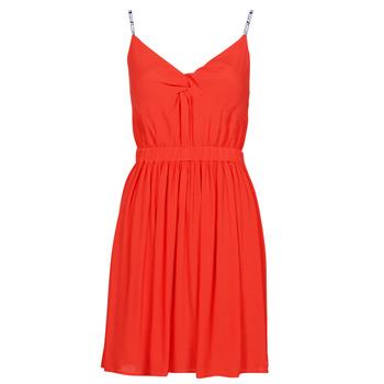 tekstylia Damskie Sukienki krótkie Tommy Jeans TJW ESSENTIAL STRAP DRESS Czerwony