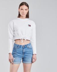 tekstylia Damskie Bluzy Tommy Jeans TJW SUPER CROPPED BADGE CREW Biały