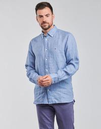 tekstylia Męskie Koszule z długim rękawem Tommy Hilfiger PIGMENT DYED LINEN SHIRT Niebieski
