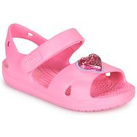Buty Dziewczynka Sandały Crocs CLASSICCROSSSTRAPCHARMSANDAL T Różowy