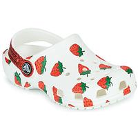 Buty Dziewczynka Chodaki Crocs CLASSIC FOOD PRINT CLOG K Biały / Różowy