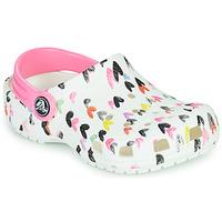 Buty Dziewczynka Chodaki Crocs CLASSIC HEART PRINT CLOG K Biały / Coeur