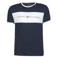 tekstylia Męskie T-shirty z krótkim rękawem Tommy Hilfiger CN SS TEE LOGO FLAG Marine / Biały