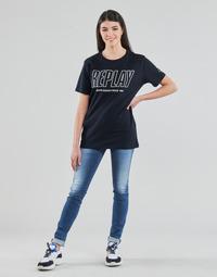 tekstylia Damskie Jeansy skinny Replay HYPERFLEX LUZ Niebieski / Moyen
