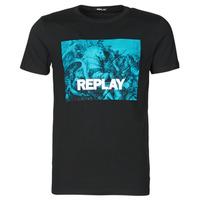 tekstylia Męskie T-shirty z krótkim rękawem Replay M3412-2660 Czarny / Niebieski