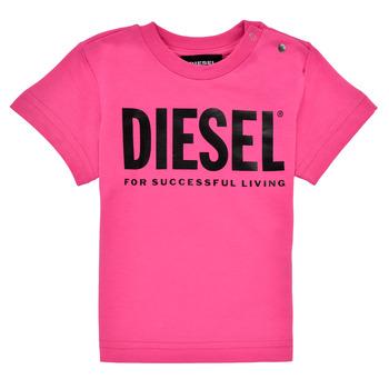 tekstylia Dziewczynka T-shirty z krótkim rękawem Diesel TJUSTLOGOB Różowy