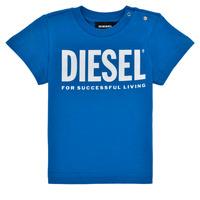 tekstylia Chłopiec T-shirty z krótkim rękawem Diesel TJUSTLOGOB Niebieski