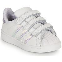 Buty Dziewczynka Trampki niskie adidas Originals SUPERSTAR CF I Biały / Tęczowy