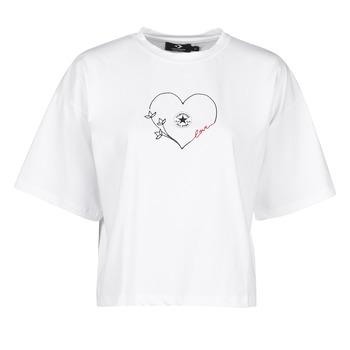 tekstylia Damskie T-shirty z krótkim rękawem Converse CHUCK WOMENS LOVE BOXY TEE Biały