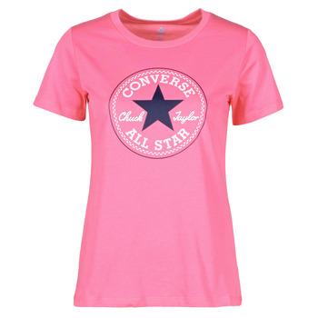 tekstylia Damskie T-shirty z krótkim rękawem Converse CHUCK PATCH NOVA TEE Różowy