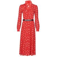 tekstylia Damskie Sukienki długie MICHAEL Michael Kors SIGNTRE LOGO SHRT DRS Czerwony