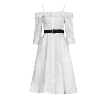 tekstylia Damskie Sukienki długie Karl Lagerfeld COLDSHOULDERSHIRTDRESS Biały