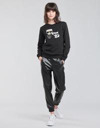 tekstylia Damskie Spodnie z pięcioma kieszeniami Karl Lagerfeld FAUXLEATHERJOGGERS Czarny