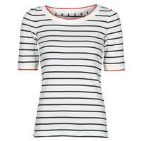 tekstylia Damskie T-shirty z krótkim rękawem Esprit RAYURES COL ROUGE Biały