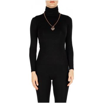 tekstylia Damskie T-shirty z długim rękawem Luckylu T-SHIRT ML COLLO ALTO 0700-nero